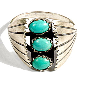 Sterling Silver With 3 Blue Stones Inset Ring