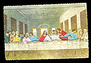 Silk Last Supper Silk Clothes 1940s Postcard