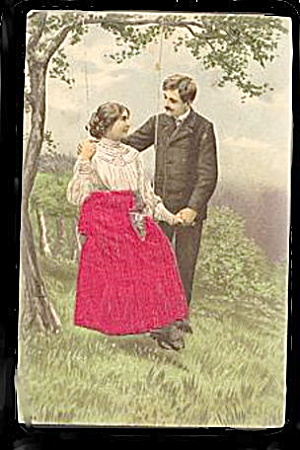 Lovely 1908 Silk Skirt Couple Postcard - Novelty