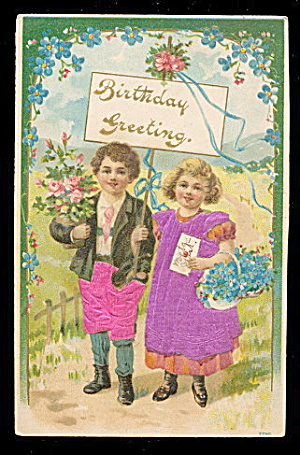 Silk Children Clothes Birthday 1909 Postcard