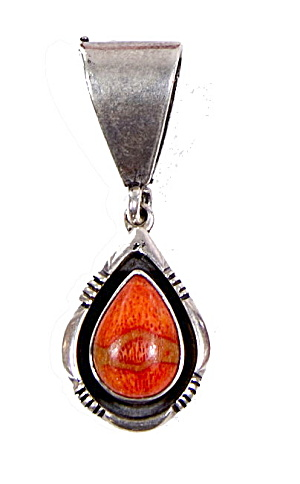 Native American Od Sterling Red Glass Pendant