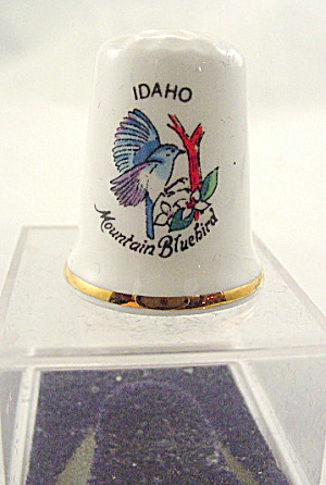 Vintage Idaho Mountain Bluebird Porcelain Thimble
