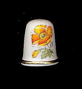 Vintage California 'poppy' Porcelain Thimble