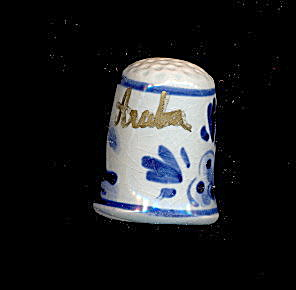 Lovely Blue Handpainted Aruba Ceramic Thimble