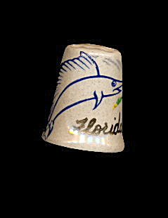 Vintage Florida Swordfish/bird Ceramic Thimble