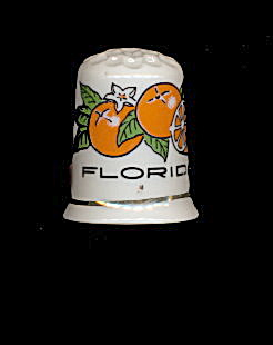 Vintage Florida 'oranges' Porcelain Thimble