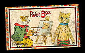 Early 1920s Louis Wain Cat & Dog Paint Box