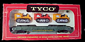 Tyco 40' Skid Flat With 3 Tractors In Original Box