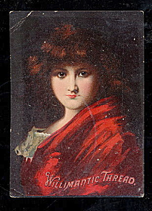 1880s Willimantic Thread Girl In Red Trade Card