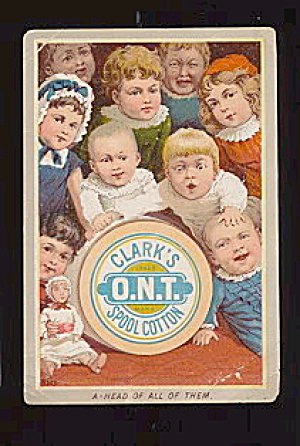 1880s Clark's O.n.t. Spool Cotton Children Trade Card