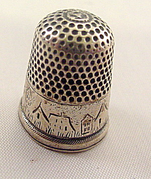 Early 1900s Sterling Houses/bldg Design Thimble
