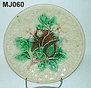 "8 1/4"" Majolica Blackberry & Basketweave Plate"