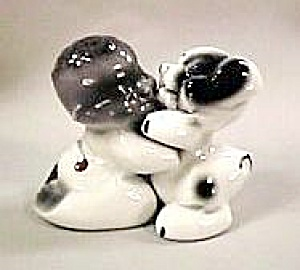 Snuggle-hug Black Boy & Dog S&p Shakers