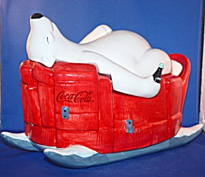 Coca Cola Polar Bear On Sled Cookie Jar