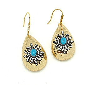 Hammered Earrings With Snowflake Design