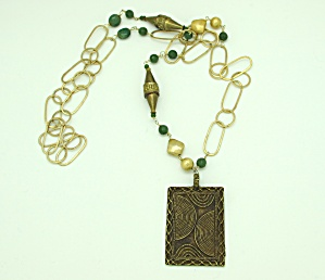 Vermeil Link Necklace With Pendant