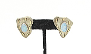 Opal And Sterling Earrings