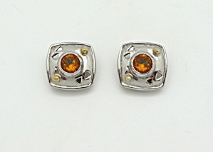 Square Earrings With Glass