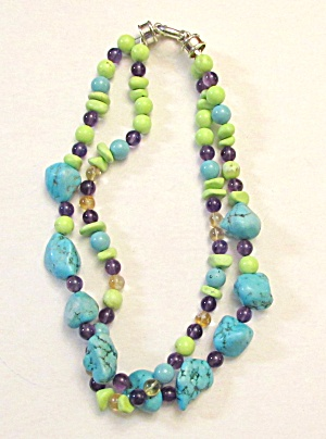 Turquoise And Stone Bead Necklace