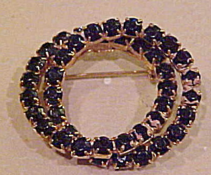 Black Rhinestone Double Circle Brooch