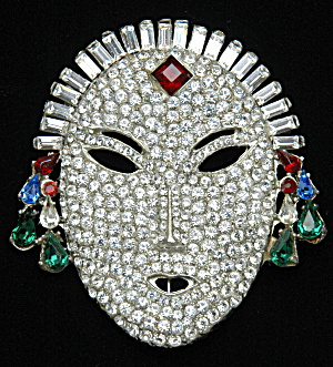 Gemcraft Rhinestone Face Brooch - Book Piece