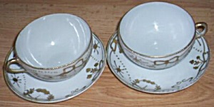2 Nippon Gold Crusted Cups & Saucers