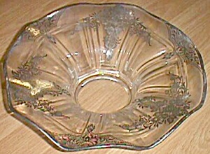 Stunning Depression Crystal Console Bowl Silver Overlay