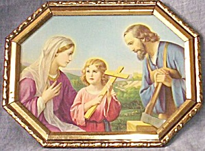 Old Mary Joseph Christ Child Print Octagon Frame