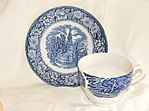 Staffordshire Flat Cup Saucer Liberty Blue