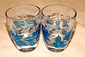 Pair Of French Shot Glass Blue Leaf