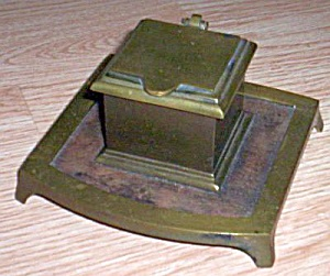 Complete Antique Brass Inkwell
