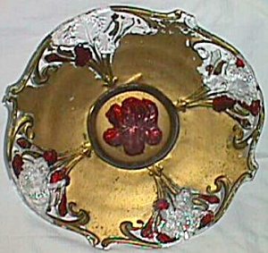 Antique Goofus Glass Console Bowl Iris