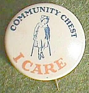 "Antique Community Chest ""i Care"" Pin Girl On Crutches Free Shipping"