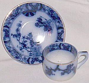Flow Blue Demitasse Cup And Saucer Gilman Cta