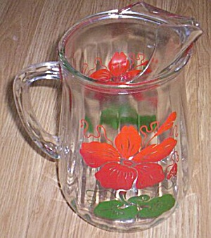 Vintage Pitcher Fired On Hibiscus Flower