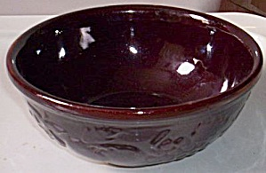 Chocolate Brown Yellow Ware Mixing Bowl Fruits