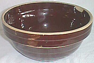 "9"" Brown Stoneware Mixing Bowl Western Pottery"