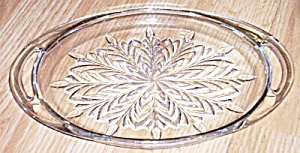 Vintage Oval Glass Condiment Tray Feather Pattern