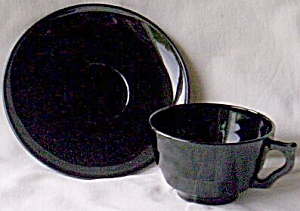 Black Glass Cup And Saucer
