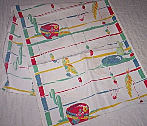 Vintage Cotton Table Runner Western Theme