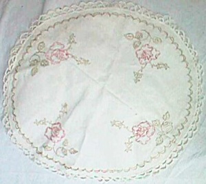 Vintage Round Center Piece Dollie Embroidered Roses