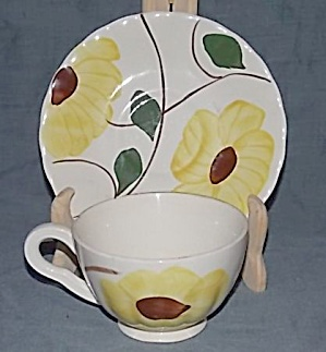 Blue Ridge Pottery Ridge Daisy Cup And Saucer