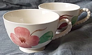2 Blue Ridge Pottery Cups Twin Flowers