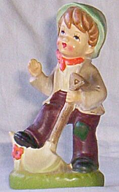 Boy With Shovel Figurine Old Blue Japan Tag
