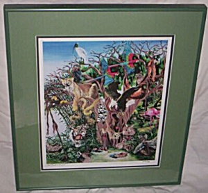 S. Andreasey Signed Numbered Print Hidden Animals