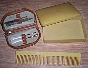 Celluloid Dresser Box Comb And Nail Kit