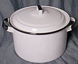 White & Black Enamelware Pot W/ Lid