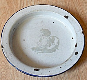 Vintage Child's Enamelware Bowl Child In Highchair
