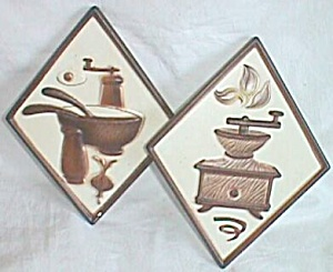 Pair Lefton Kitchen Wall Plaques Coffee Grinder Salad B