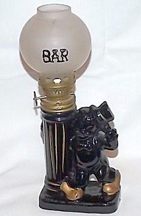 Figural Oil Lamp Drunk By A Light Post